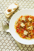Soup Ratatouille with eggplant and peppers — Stock Photo