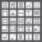 Common house appliances - grey icon set — Stock Vector