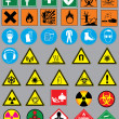 38 safety warnings and label signs — Stock Vector #51636121