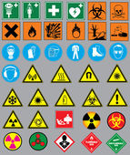 38 safety warnings and label signs — ストックベクタ