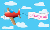 Plane with marry me banner — Stock Vector