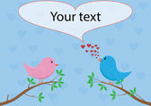 Love birds - singing love song — Stock vektor