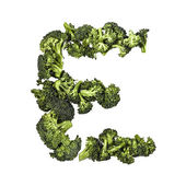 Broccoli letter E on white background — Stock Photo