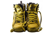 Used yellow boots isolated on white background — Stock Photo