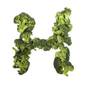 Broccoli letter H on white background — Foto Stock