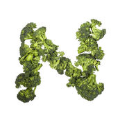 Broccoli letter N on white background — Stock Photo