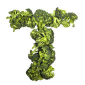 Broccoli letter T on white background — Foto Stock
