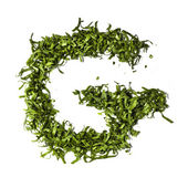 Salad letter G on white background — 图库照片