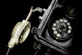 Close-up of an old black telephone — Stock Photo