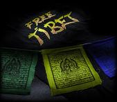 Prayer flags with Free Tibet t-shirt — Foto de Stock