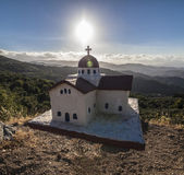 Traditional greek little church near the road — Stock Photo