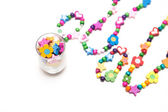 Kids beaded jewellery isolated on white — Stock Photo