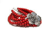 Elegant and modern bracelet made from glass pearls and silver — ストック写真