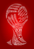Word cloud concept of Brazil 2014 football championship in vector — Stock Vector