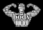 Body Builder word cloud tag concept in vector illustration — Stok Vektör