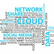 Cloud and Network Social Media Word Cloud tag concept in vector — Stock Vector #46081521