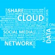 Cloud and Network Social Media Word Cloud tag concept in vector — Stock Vector #46081525