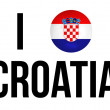 I Love Croatia Concept and Croatian national flag and soccer ball — Stock Photo