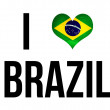 I Love Brazil Concept in shape of heart and Brazil national flag and soccer ball — Stock Photo