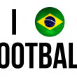 I Love Football Concept and Brazil national flag and soccer ball — Stock Photo