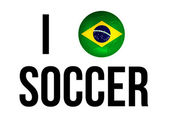 I Love Soccer Concept  and Brazil national flag and soccer ball — Stock Photo