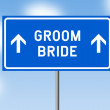 Road sign concept Groom and Bride on blue background against blue sky — Foto Stock