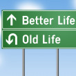 Road Sign Better Life - Old Life on green background against blue sky — Stock Photo #47739399