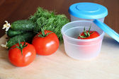 Storage plastic containers — Stock Photo