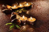 Golden candle group — Stock Photo