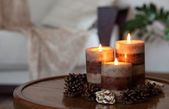Candles and sofa — Stock Photo