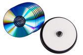 Some blank writable DVD discs on white background — Stock Photo