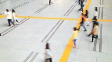 Aerial view of people walking on passageway — Stock Video