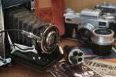Vintage camera and retro items — Stock Photo