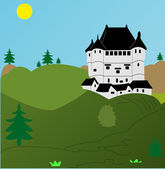 Castle on mount — Stock Vector