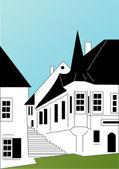 Huset på gatan — Stockvektor