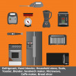Постер, плакат: Set of 10 Kitchen Appliances Electronic icon