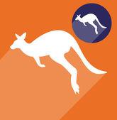 Kangaroo silhouette — Vector de stock