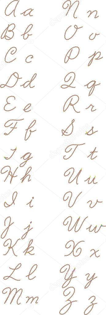 gro e und kleine buchstaben des alphabets aus seil stockfoto natalim 50466667. Black Bedroom Furniture Sets. Home Design Ideas