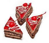 Cake with cherry — Stock Photo