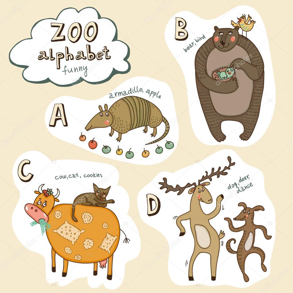 儿童动物字母表 — 矢量图片作者 polina.nesterova