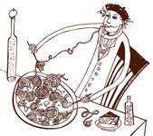 Italian cuisine Frenchman — Stock Vector
