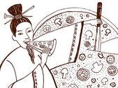Italian cuisine Japanese — Stock Vector