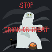 Stop trick or treat - horrified specter — Stock Photo