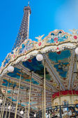 Eiffel Tower and French carousel — Stock Photo