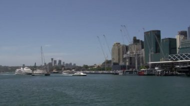 Ferry and sail boats in Darling Harbour — Stockvideo