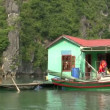 Sailing through a floating fishing village — Stock Video