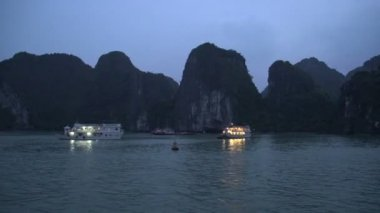Ha Long Bay cruise ships — Stock Video