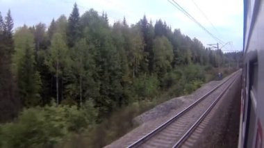 Train view speeding in a curve — Stock Video
