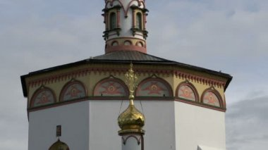 Golden dome Church of the Epiphany — Stock Video