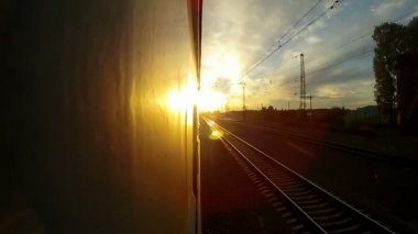 Trans-Siberian Railway during sunset — Stock Video